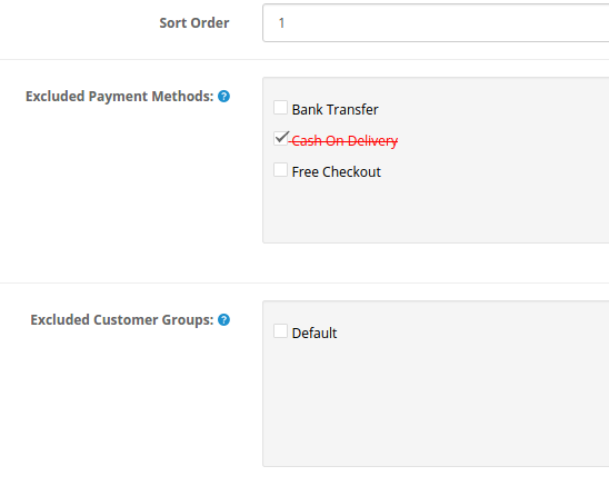 Entry where you exclude payments and user groups